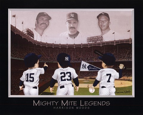 Framed Mighty Mite Legends - Mattingly, Munson, & Mantle Print
