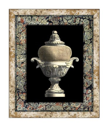 Framed Urn on Marbleized Background II Print