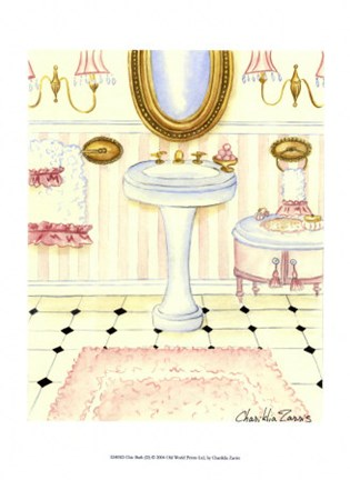 Framed Chic Bath (D) Print