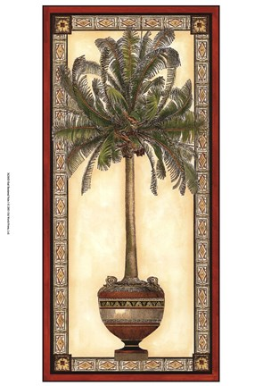 Framed Red Bordered Palm I Print