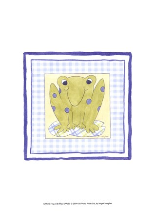 Framed Frog with Plaid (PP) III Print