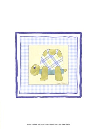 Framed Turtle with Plaid (PP) III Print