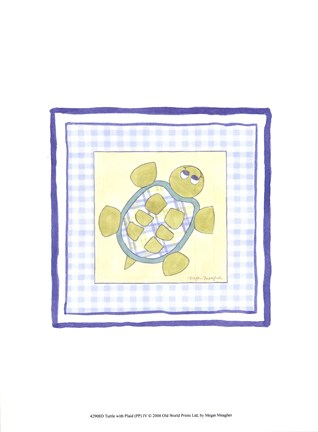 Framed Turtle with Plaid (PP) IV Print