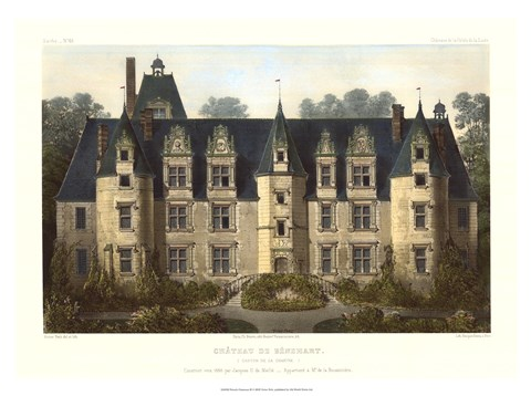 Framed French Chateaux III Print