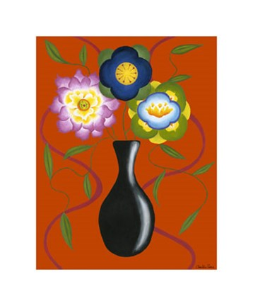 Framed Stylized Flowers in Vase II Print