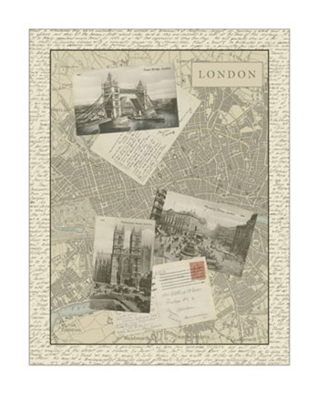 Framed Vintage Map of London Print