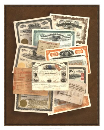 Framed Stock Certificate Collection Print
