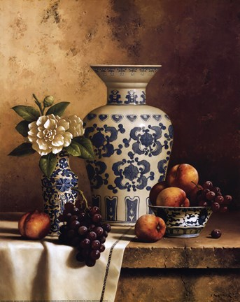 Framed Blue and White Oriental Still Life with Peaches and Grapes Print