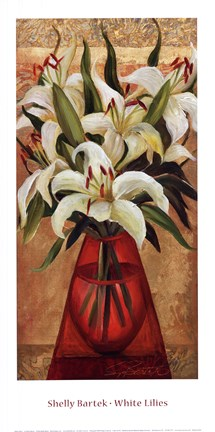 Framed White Lilies Print