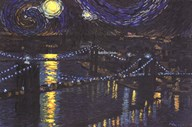 Starry Night over Brooklyn Bridge  Fine Art Print