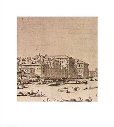 Framed Grand Canal Beyond Rialto Print