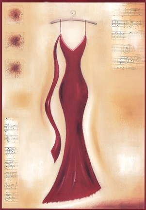 Framed Red Evening Gown II Print