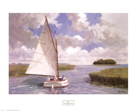 Framed Catboat Through the Marsh Print