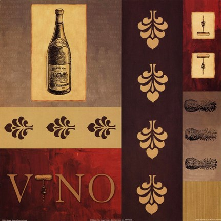 Framed Vino in Red II Print