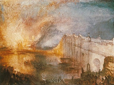 Burning Of The Houses Of Parliament Fine Art Print By J M