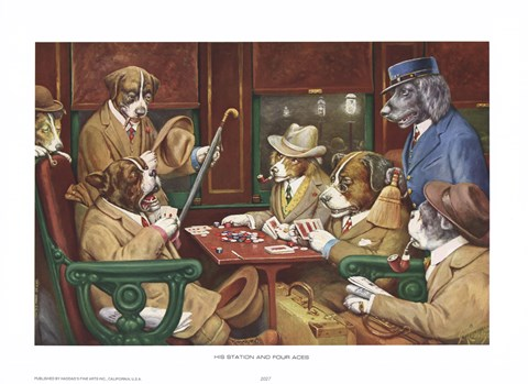 His Station And Four Aces Fine Art Print By Cassius