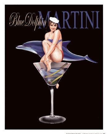 Framed Blue Dolphin Martini Print