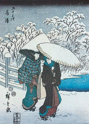 Framed Women in the Snow at Fujisawa Print