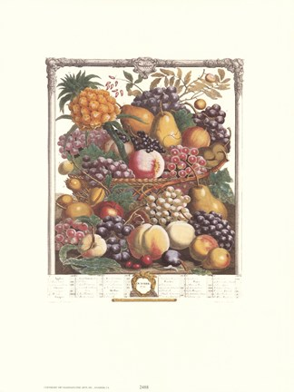Framed October/Twelve Months of Fruits, 1732 Print
