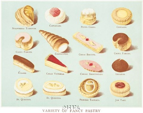 Framed Variety of Fancy Pastry Print