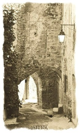 Framed Archway with Lamp Print
