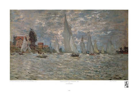 Framed Boats, Regatta at Argenteuil Print