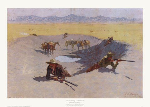 Framed Fight for the Waterhole Print