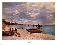 Beach at Sainte-Adresse  Fine Art Print