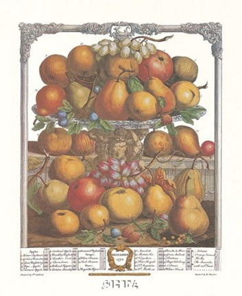 Framed December/Twelve Months of Fruits, 1732 Print