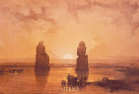 Framed Statues of Memnon at Thebes Print