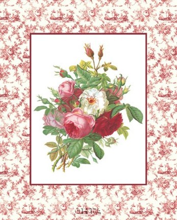 Framed Roses and Toile Print