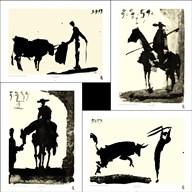 Picasso's Bullfight Set (set of four prints each 14.5 x 19.5)  Fine Art Print