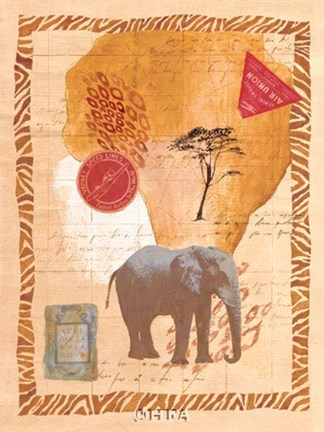 Framed Travel Elephant Print