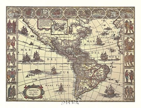 Framed Map of North and South America Print