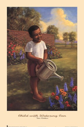 Framed Child with Watering Can Print