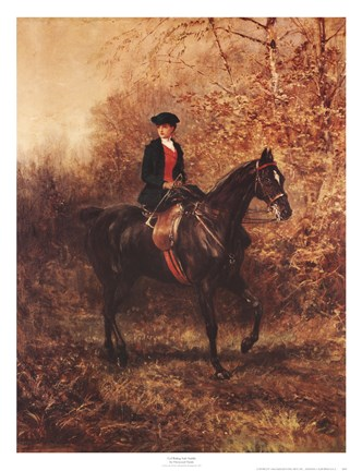 Framed Girl Riding Side-Saddle Print