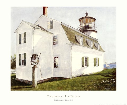 Framed Lighthouse with Bell Print