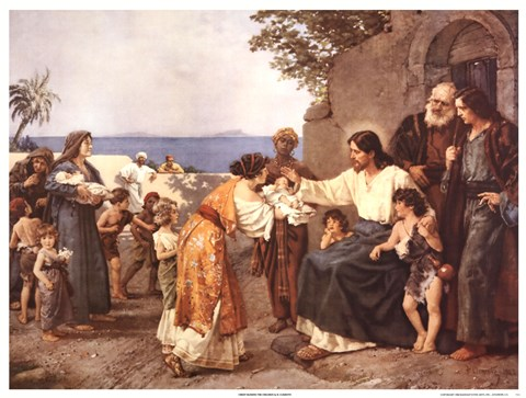 Christ Blessing The Children Fine Art Print By H Clementz