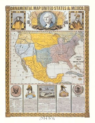 Framed Ornamental Map/United States and Mexico Print