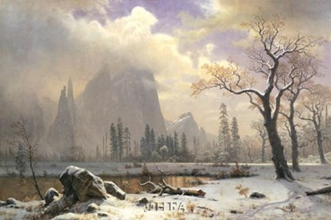 Framed Yosemite Winter Scene Print