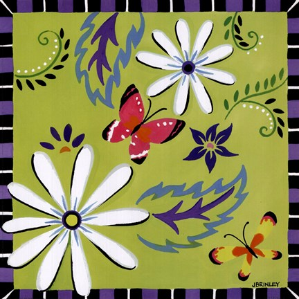 Framed Daisies And Butterflies-Green Print