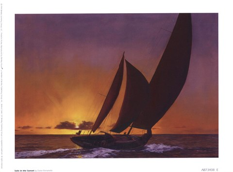 Framed Sails In The Sunset Print