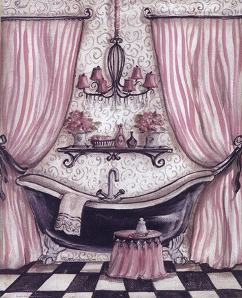 Framed Fanciful Bathroom I Print