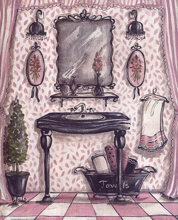 Framed Fanciful Bathroom III Print
