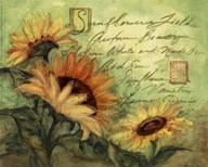Sunflowers On Green  Fine Art Print