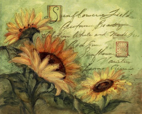 Sunflowers On Green Fine Art Print By Susan Winget At