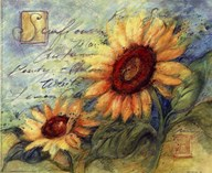 Sunflowers On Blue  Fine Art Print