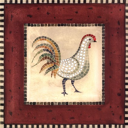 Framed Mosaic Rooster No.2 Print