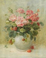 Pink Geraniums with Strawberries Art