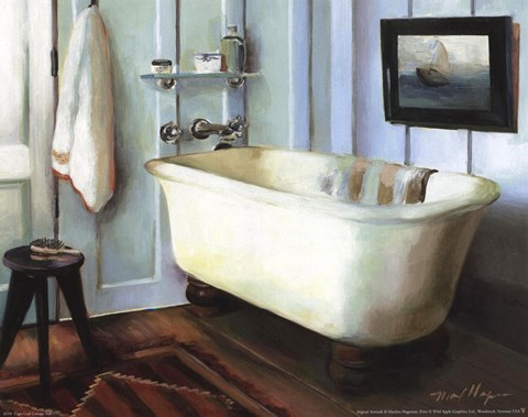 Framed Cape Cod Cottage Tub Print